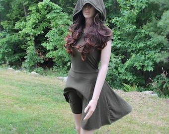 Casual Day Dress / High Low Dress Casual Dress / Hood Dress Day Dress