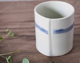 Handmade Porcelain Striped Tumbler // Wine and Whiskey Cup