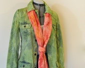 """Green Small Denim JACKET - Lime Green Dyed Upcycled Old Navy Denim Trench Trucker Jacket - Adult Womens Size Small (38"""" chest)"""