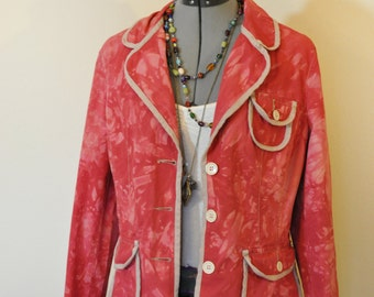 "Red 12 Medium Cotton JACKET - Upcycled Cherry Red Dyed Stamp 10 Cotton Blazer Jacket - Adult Womens Medium (42"" chest)"