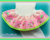 Strawberry Ice Cream & Candy custom girls ruffle sock. You create your own design by picking custom top ribbon color.