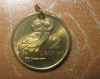 Authentic Vintage 1973 UNCIRCULATED GREECE Greek Athena Owl Phoenix Coin Pendant Necklace