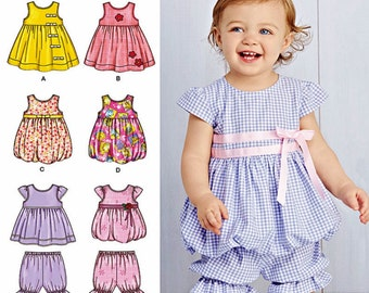 Baby Girls' Top and Pantaloons Pattern, Toddler Girls' Sundress and Bolero Pattern, Sz Nb to 18 mo. Simplicity Sewing Pattern 1141 and 3854