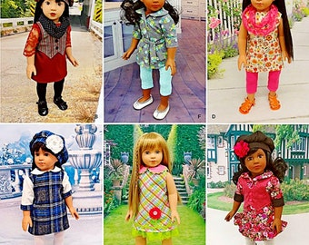 18 inch Doll Clothes Pattern, 18 inch Doll Dresses Pattern, Simplicity Pattern 1089