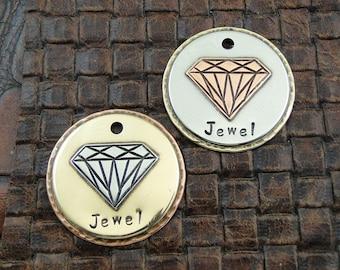 Diamond-Ruby-Jewel-Custom Pet ID Tag, Dog Tag for Dogs-Personalized Dog Collar ID Tag