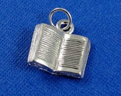 Open Book Charm - Silver Plated Open Book Charm for Necklace or Bracelet