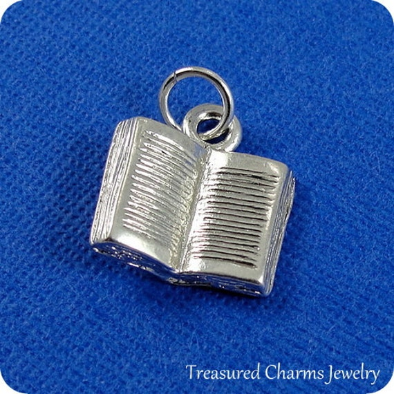 open book silver charm