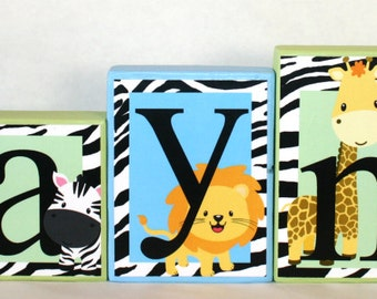 Zayne Collection - Jungle/Safari Name blocks - Light green and light blue - Tulle can be added -