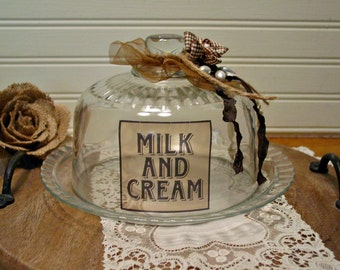 Glass Cloche  - Altered Art Cloche - Farmhouse Home Decor - Milk and Cream Farmhouse - Home Decor - Rustic