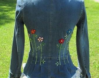 Womens Jean Jacket / Hippie Jean Jacket / Upcycled Jean Jacket / Hand Embroidered Flowers / Embroidered Jean / Bohemian Jacket / Hippie Coat