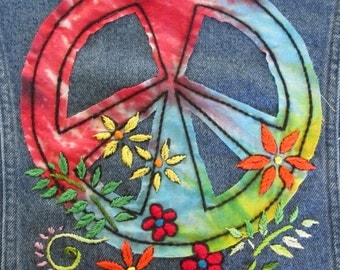 Peace Sign Jacket / Embroidered Jean Jacket / Hippie Coat / Upcycled Jean Jacket / Peace Sign Applique / Hand Embroidered Flowers / Bohemian