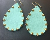 Gold studded Aqua Leather teardrop earrings