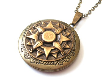 Compass Locket, Explorer Locket, Steampunk Jewelry, Bronze Locket Necklace, Compass Necklace, Also in Copper and Silver