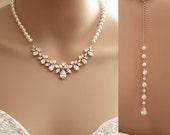 Rose Gold Backdrop Necklace, Bridal Back Necklace, Crystal Pearl Wedding Necklace, Romantic Wedding Necklace Bridal Jewelry, Nicole