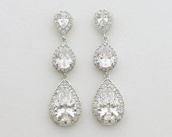 Wedding Earrings Teardrop Bridal Jewelry Crystal Drop Earrings Bridal Earrings Teardrop Wedding Jewelry, Claire