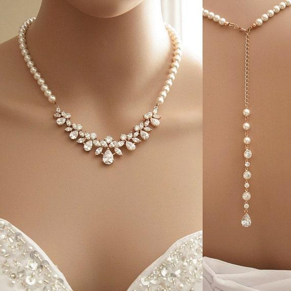 Brautschmuck gold  Rose Gold Hintergrund Halskette Bridal zurück Crystal Pearl