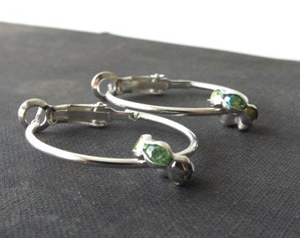 small silver hoop earrings with green ab crystal focal bead women jewelry fashion accessories accessory modern minimalist simple latch back