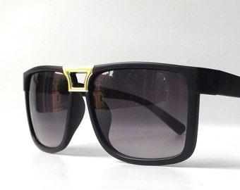 vintage 1990's NOS matte black wayfarer sunglasses womens men fashion accessories accessory sun glasses retro modern gold purple lens square