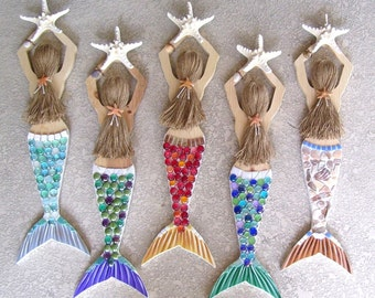 Mermaid Carved from Wood Hand Decorated and Painted Over 2 FT Long Misty
