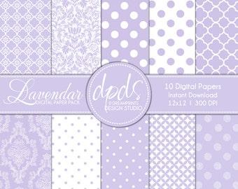 Lavendar Digital Paper Pack: 12x12 l 300 dpi l 10 sheets
