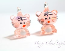 Glow in the Dark Tiger Lampwork Glass Charms - Package of 2