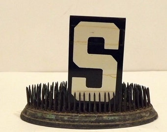 Metal Letter S Unitype Hanging Sign Black White