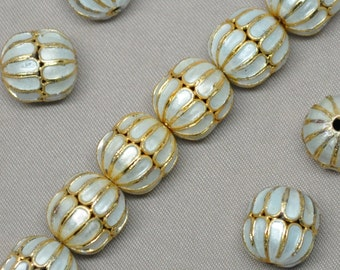 11 X 14 mm Cloisonné Ivory/Off White and Gold Enamel Beads 10 Pieces