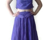 Lavender summer suit, set of skirt and blouse for woman upcycled crop top and skirt set