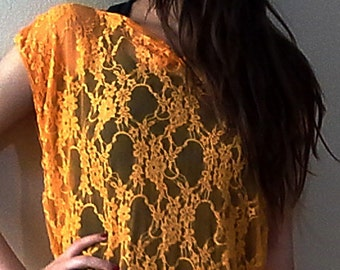 Lace Kaftan Dress Orange Maxi Dress Lace Bohemian Caftan plus size/oversize lace beach cover up