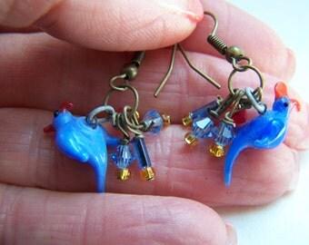 Blue Earrings - Red Earrings - Dove Earrings - Bird Doodaba Glass Dangle Earrings