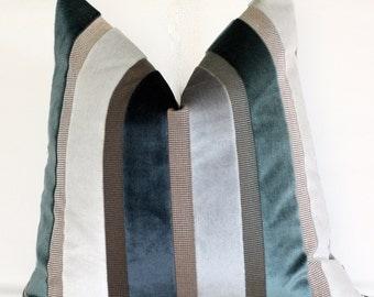 20x20 pillow, striped pillow, velvet pillow, 18x18 pillow, turkish blue and gray striped velvet