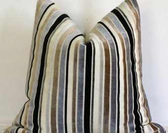20x20 pillow, striped pillow, 18x18 pillow, cut chenille, black, gray and tuape