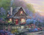 Cottage at Night Original Oil Painting 18X24, house, flowers, evening, beautiful country cabin paintings, canvas wall art, Vickie Wade