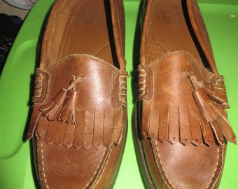 Vintage Shoes Mens  G.H Bass and Co Brown Leather Slip On Loafer Loafers Rustic Preppy Boat Shoe Deck tassel  sz 11