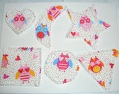 Felt Backed Pink OWLS-Fabric Basic Shapes Triangle, Heart, Circle, Square, Moon, Star Educational Education Learning School