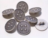 14mm Silver Color Metal Buttons Antiqued Silver Set 8 Sewing Embellishment Buttons with Shanks