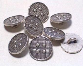 Silver Button Metal Buttons Set 8 Sewing Embellishment Buttons 14mm with shanks