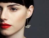 origami jewelry, boat jewelry, boat earrings, origami earrings, sailboat earrings, gift for her