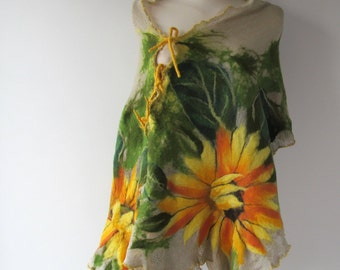 Linen poncho linen scarf  linen shawl knit jersey felted aplication Sunflower flower natural flax
