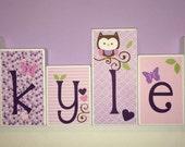 Custom Wood Blocks - M2M Baby First's Plum Owl Meadow bedding - Custom Wood Block Letters - Baby Letter Blocks