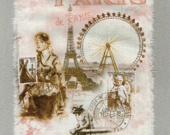 paris apt, french theme, pink ribbon Eiffel tower, french postmarks ,hand torn ribbon 3.75 wide  1137 oohlala