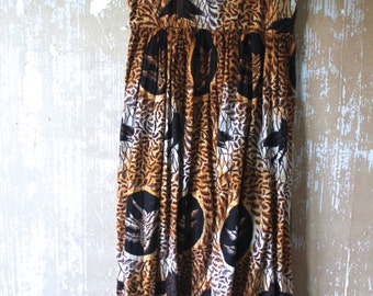 vintage. 50s  Rare African Bird Print Tank Dress // Cotton Dress //  M