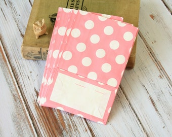 Light PINK Polka Dot flat bottomed paper bags