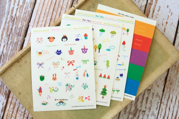 Beri Beri deco scrapbooking stickers set