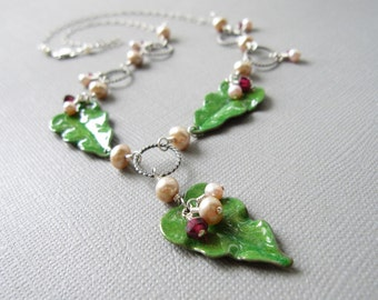 Champagne Pink Pearl Red Garnet Enamel Leaves Necklace