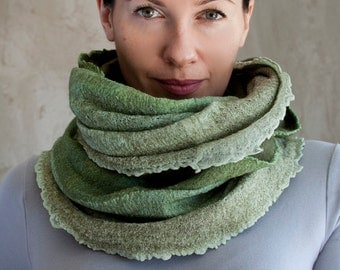 Green ombre scarf felted thin cowl women neck warmer olive merino wool hood soft scarf cotton infinity cowl loop scarf handmade to order