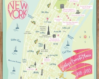 NYC Infographic Map, Favorite Places, Itinerary, Wedding Gift