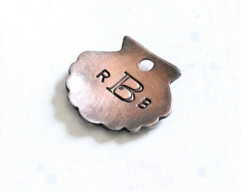Monogrammed Bridesmaid Bouquet Charm, Beach Wedding Hand Stamped Initial Charm in Antiqued Copper, Personalized Wedding Party Gifts