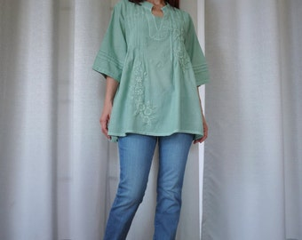 Boho Blouse -  3/4 Sleeve Stand Collar Dusty Mint Green Light Cotton Casual Blouse Top With Floral Hand Embroidery -  Size 6 To 12