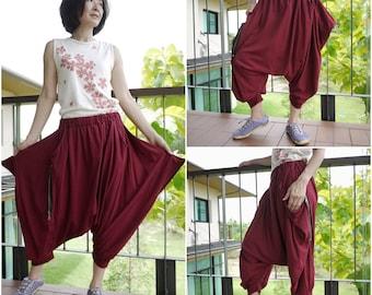 Funky Harem Boho Capric Drop Crotch Burgundy Cotton Jersey Pants With Zipped Flap Side And Elastic Waist -  Size 6 To Size 18